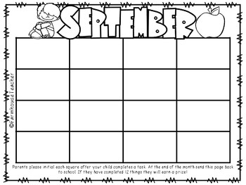 Monthly Preschool Homework Calendar