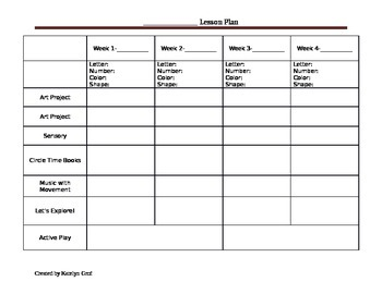 Monthly Preschool Lesson Plan Template
