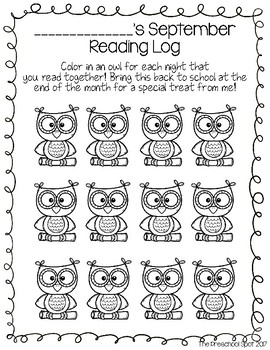 Monthly Preschool Reading Logs - For Pre-Readers