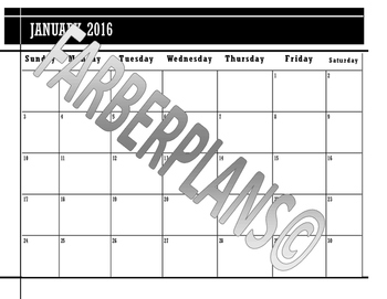 Monthly Printable Calendar: January-June 2016