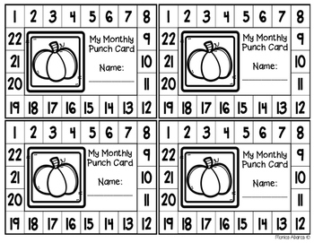 {Freebie} Monthly Punch Cards