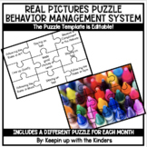 Monthly Puzzle Behavior Management System; Real Pictures and Editable!