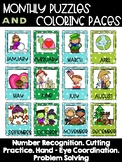 Monthly Puzzles and Coloring Pages January - December