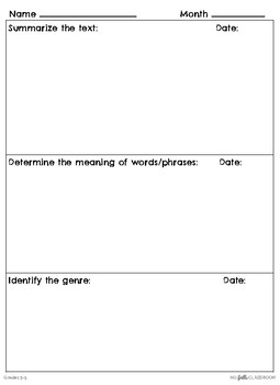 Monthly Reading Comprehension Logs (Literature K-2 and 3-5)