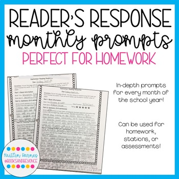 Monthly Reader's Response Prompts--perfect for independent reading homework!