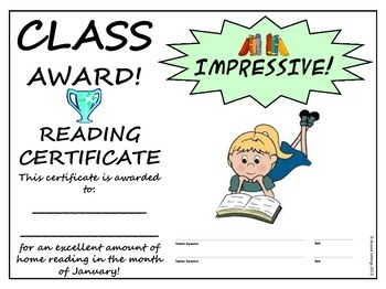 Monthly Reading Awards
