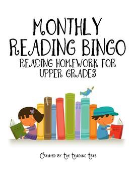 Monthly Reading BINGO for Upper Grades