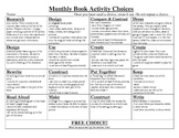 Monthly Book Activity Projects w/ Rubric & Homepage Reminder