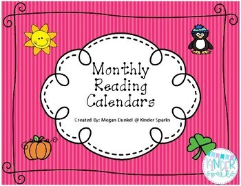 Monthly Reading Calendar Set- *Updated for 2017-2018 school year