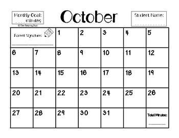 Monthly Reading Calendars 2017-2018