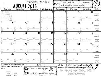 Monthly Reading Calendars