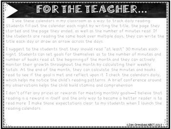 Goal Setting using Monthly Reading Calendars