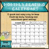Goal Setting using Monthly Reading Log Calendars