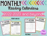 Monthly Reading Log Calendars {editable}