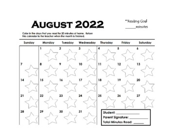 Monthly Reading Calendars (editable)