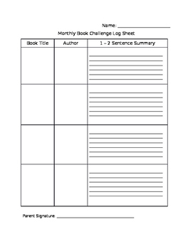 Monthly Reading Challenge Log Sheet