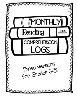 Monthly Reading Comprehension Logs (Literature 3-5)