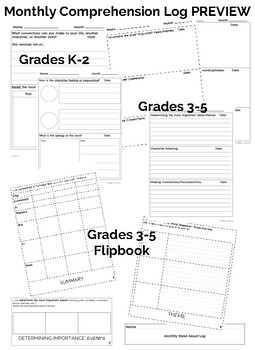 Monthly Reading Comprehension Logs (Literature K-2)