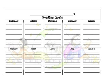 Monthly Reading Goal for School Year
