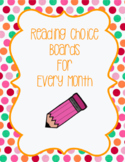 Monthly Reading Home Work Choice Boards