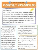 Monthly Reading Homework Log