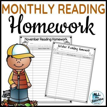 Monthly Reading Homework Logs