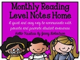 Monthly Reading Level Notes Home