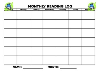 Monthly Reading Log