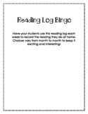 Monthly Reading Log Bingo