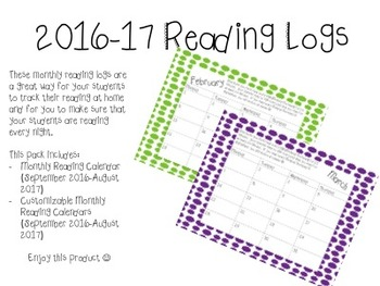 Monthly Reading Log Calendar 2016-17