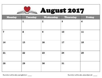 Monthly Reading Log Calendar 2017-2018