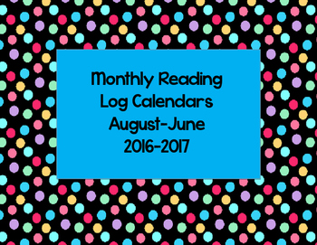 Monthly Reading Log Calendars 2016-2017