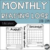 Monthly Reading Log Calendars (EDITABLE)