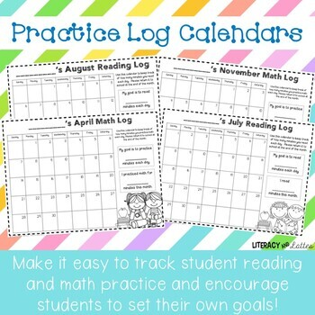 Monthly Reading Log and Math Practice Log Calendars *Plus Yearly Updates!*