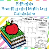 Monthly Reading Log and Math Practice Log Calendars *Plus