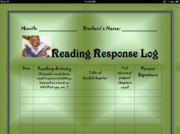 Monthly Reading  Log (Homework)
