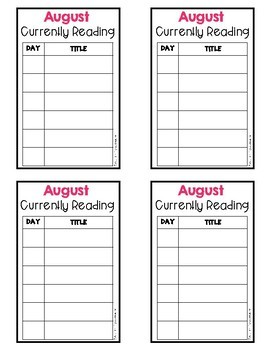 Monthly Reading Log - Library Card Version