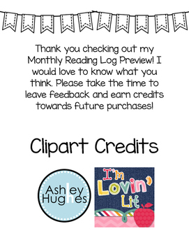 Monthly Reading Log (PREVIEW)