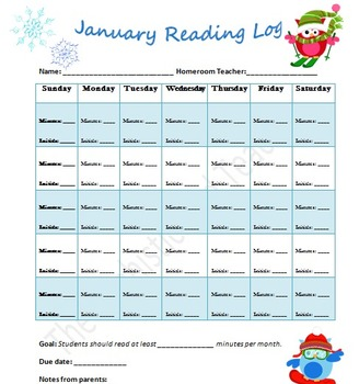 Monthly Reading Log Pack Owl Theme