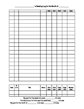 Monthly Reading Log Packet