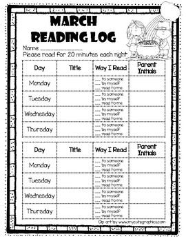 Monthly Reading Log Sheets