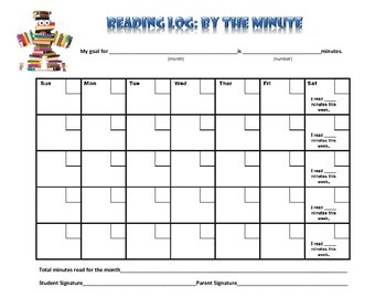 Monthly Reading Log and Parent Letter