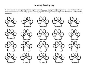 Monthly Reading Log to Earn Therapy Dog Visit