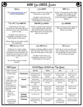Monthly Reading Log with Project Choice Board