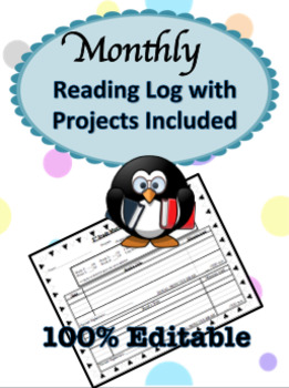 Monthly Reading Log with Reading Projects