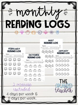 Monthly Reading Logs - 12 months