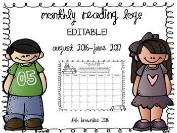 Monthly Reading Logs 2016-2017-EDITABLE!