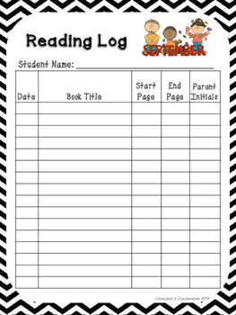 Monthly Reading Logs (Black & White Chevron)