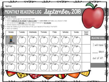 Monthly Reading Logs (Seasonal K-2)