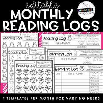 Monthly Reading Logs EDITABLE